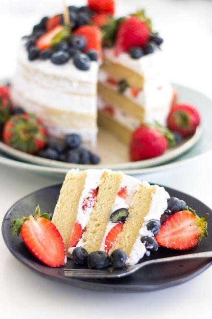 Vegan Vanilla Berries Naked Cake