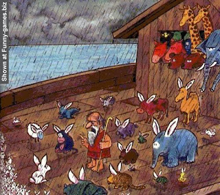 Funny Noah's Ark Cartoon Picture - Noah telling off rabbits for multiplying image