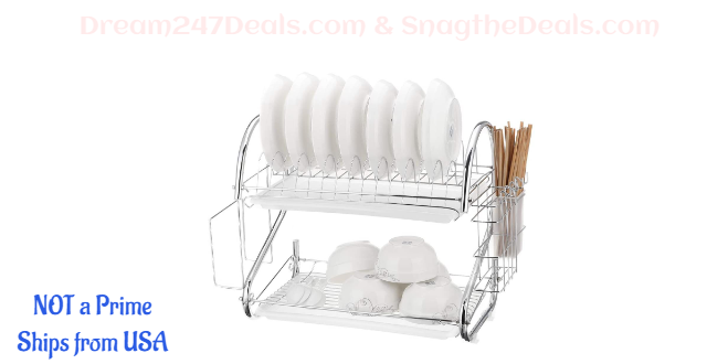 Dish Drying Rack, 2 Tiers Dish Drying with Utensil Holder 30% OFF