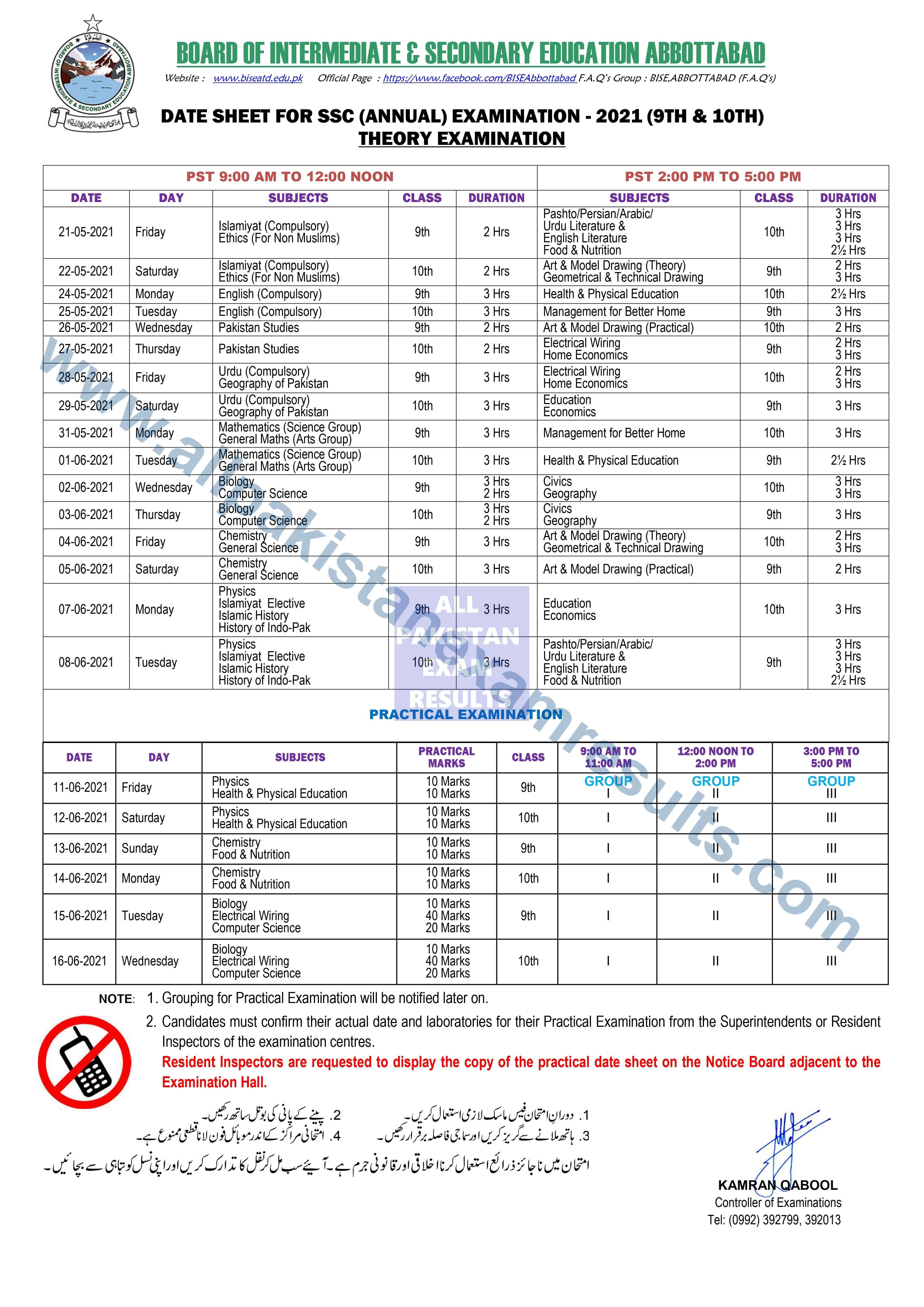 BISE Abbottabad Date Sheet For SSC Annual Exam 2021