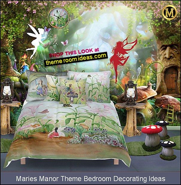 Magic Wood Fairytale Town wallpaper mural   Fairy Wall Decal    Fairy Garden Comforters