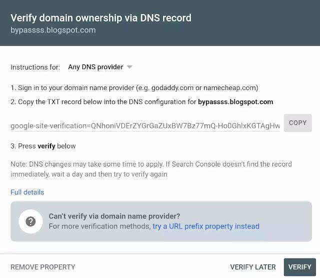 halaman verifikasi webmaster