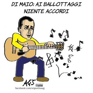 di maio, m5s, renzi, ballottaggi, satira, vignetta