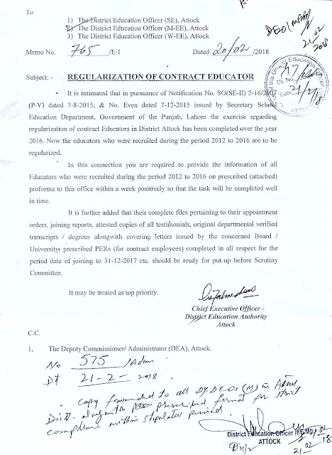 Regularization of Punjab Educators
