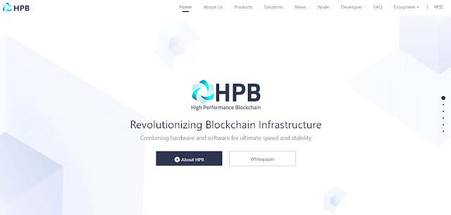 Screenshot Website High Performance Blockchain (HPB)