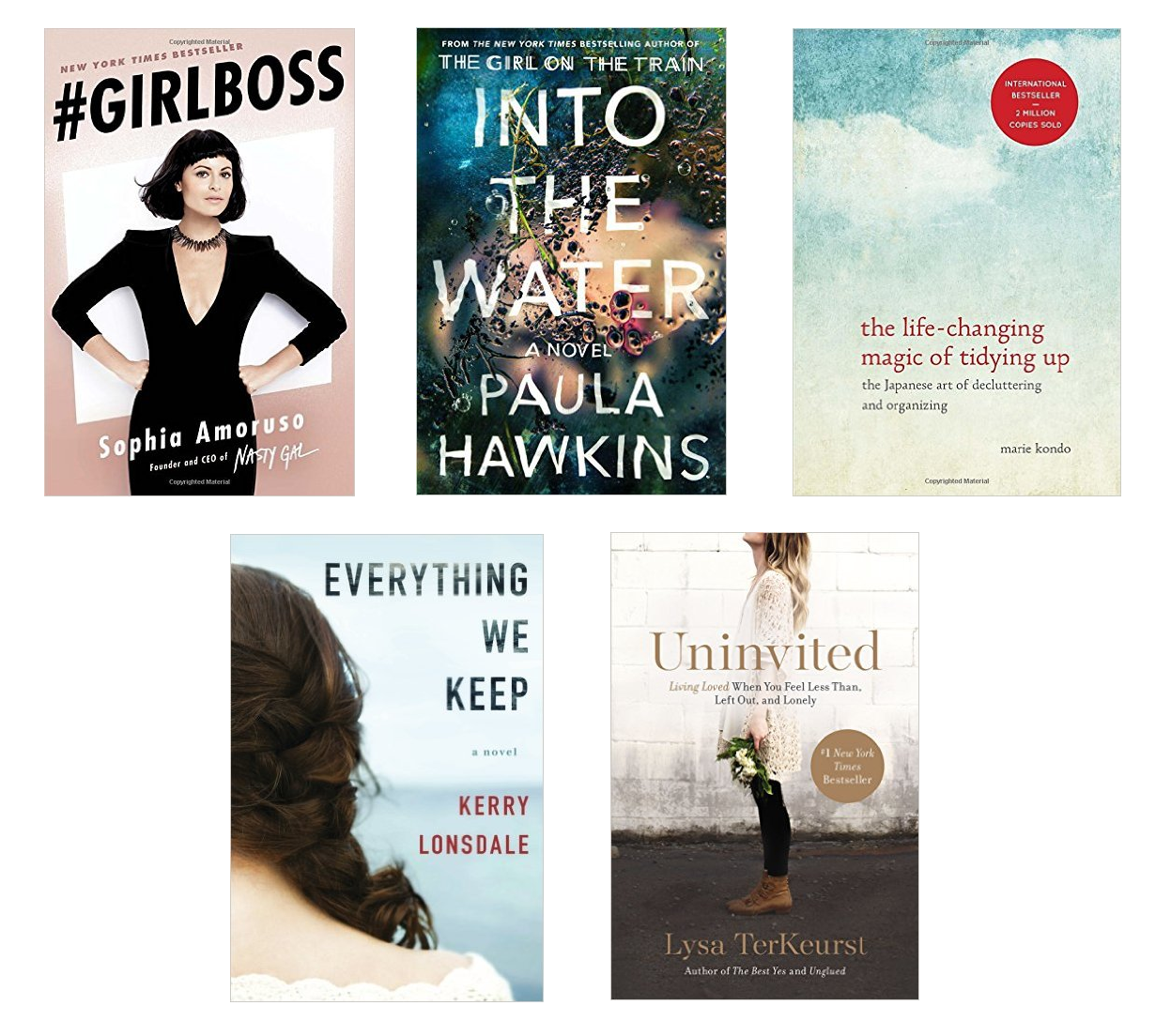 5 Books To Read in 2017 - Tea & Curls - #GIRLBOSS, Into The Water, The Life-Changing Magic of Tidying Up, Uninvited, Everything We Keep