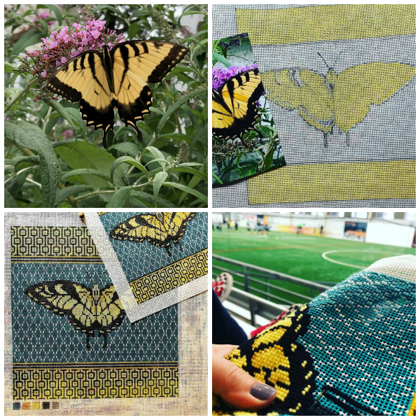 Swallowtail butterfly collage showing the development from photo to idea to finished stitched needlepoint canvas