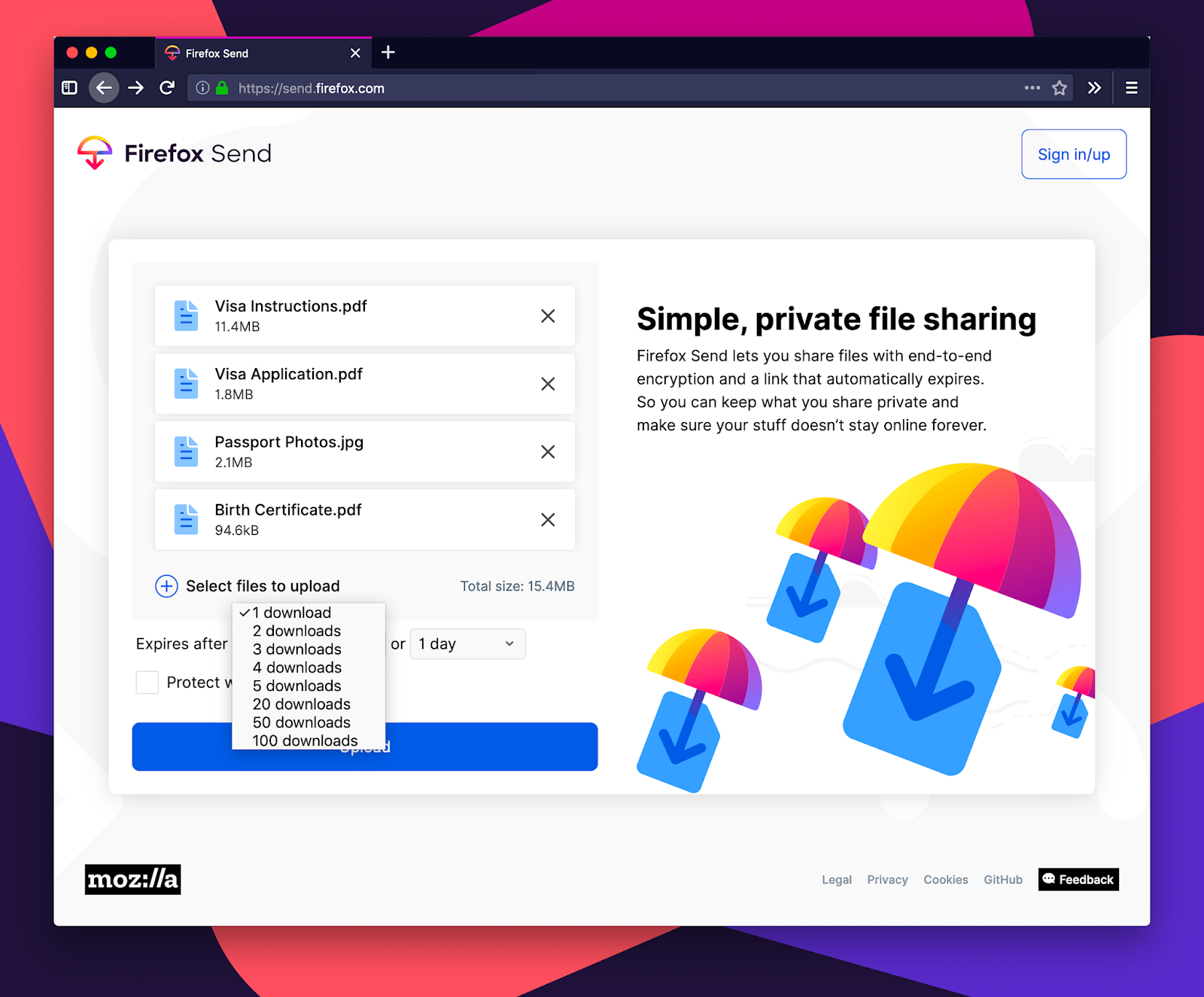 Mozilla launches Firefox Send - a free encrypted file sharing service