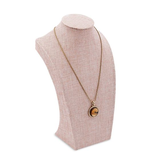 Pink Fabric Covered Linen Necklace Chain Jewelry Bust Display