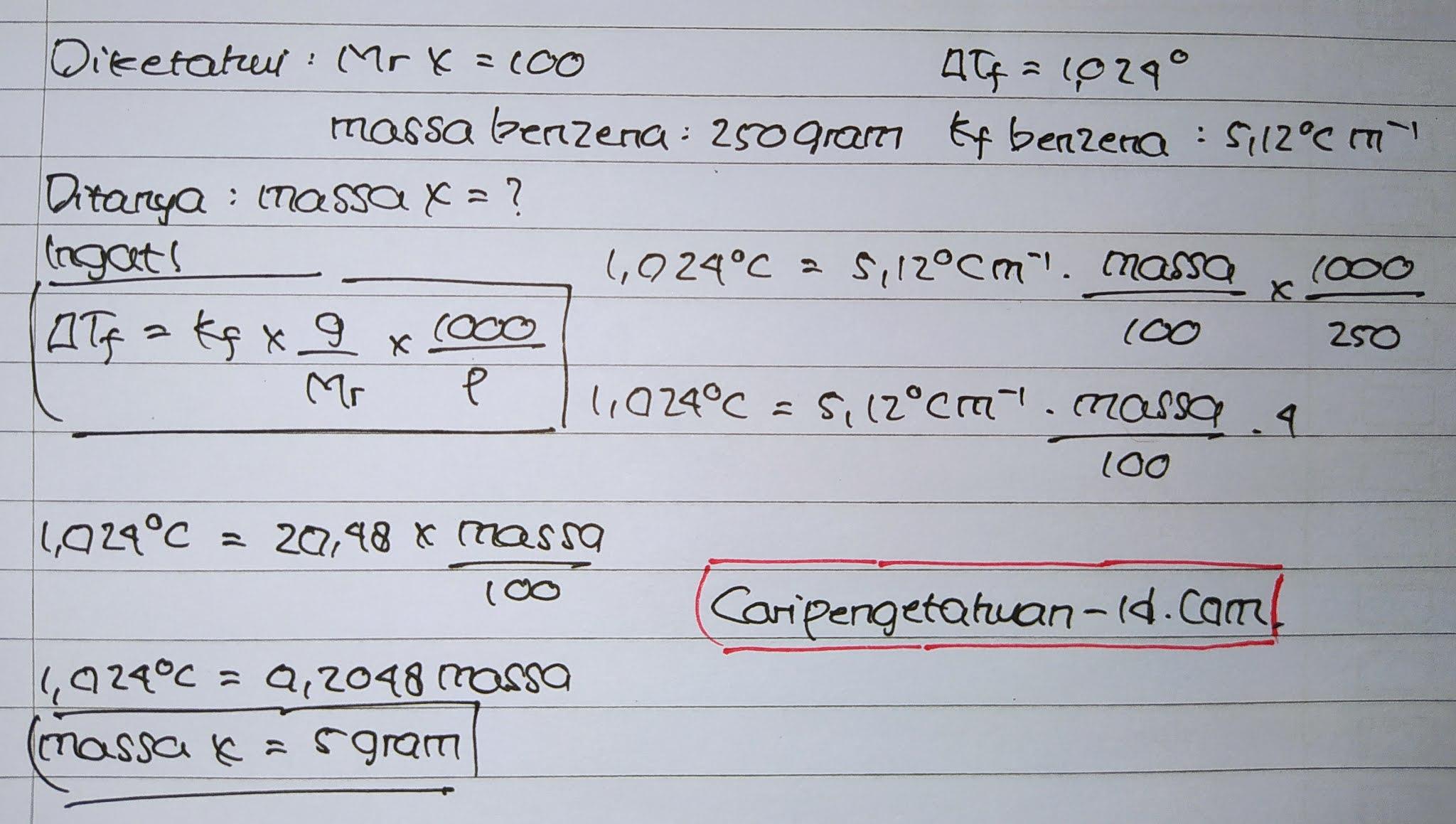 Senyawa X (Mr = 100) yang tidak dapat menghantarkan listrik dilarutkan dalam 250 gram benzena, ternyata memberikan penurunan titik beku (ΔTf) sebesar 1,024°C Jika diketahui harga Kf benzena = 5,12°C m-1 maka berat senyawa yang dilarutkan adalah ….