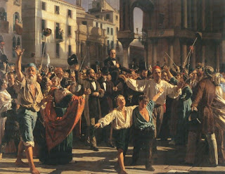 Manin is carried on the shoulders of joyful Venetians after the Austrians left the city. Painting by Naploeone Nani