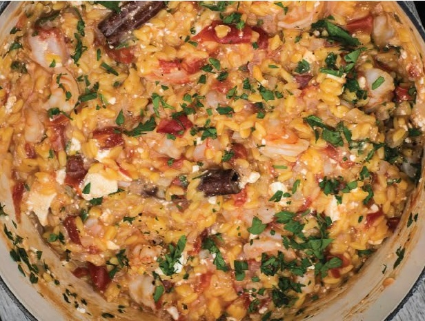 How to Make One Pot Greek Shrimp with Orzo