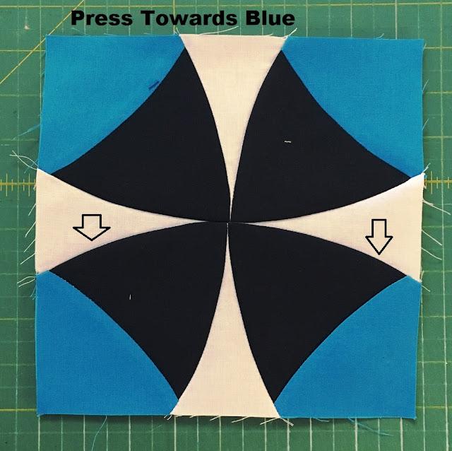 press towards blue winding ways quilt block
