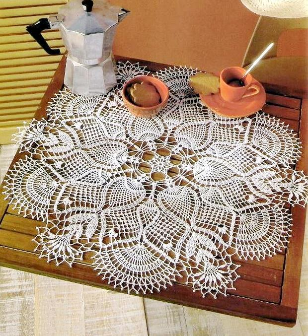 Large Doily Crochet Pattern - Pineapple Doily - Coffee Table Doily