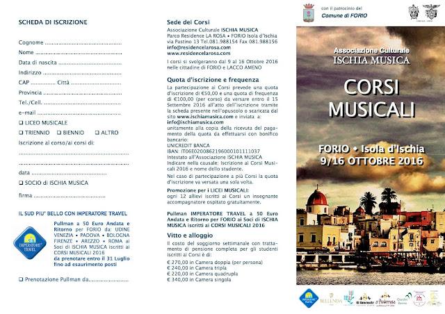 Corsi musicali all'isola di Ischia, dal 9 al 16 ottobre 2016 a Forio, Ischia