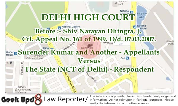 Acquittal in 498a - Benefit of Doubt due to Incredible Version of Prosecution - Delhi HC