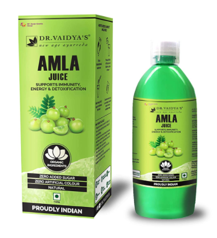 DR. VAIDYA'S new age ayurveda Amla Juice - Immunity, Energy & Detoxification (1 LTR) - Vegetarian, Zero Added Sugar