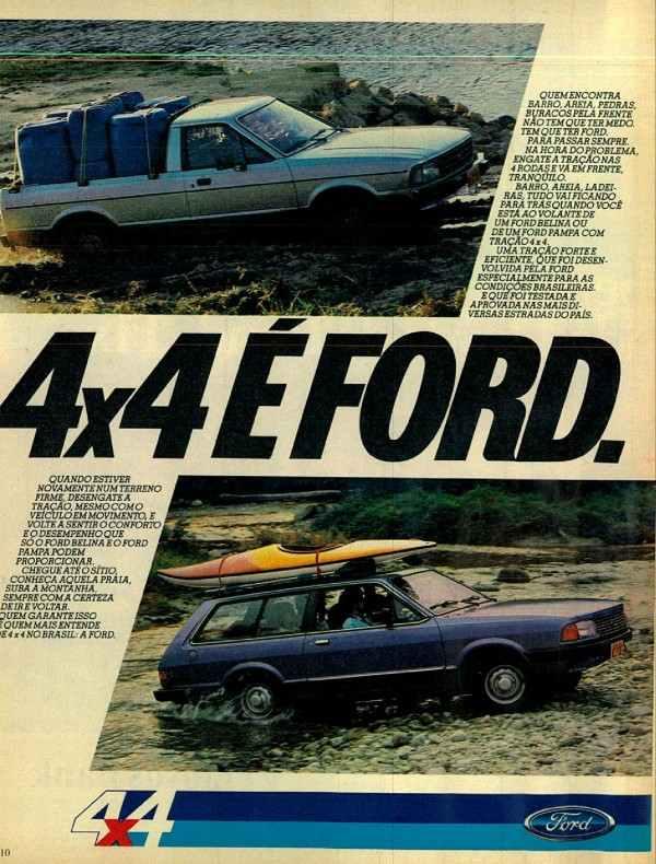 Anúncio da Ford em 1985 promovendo os modelos com tração nas quatro rodas