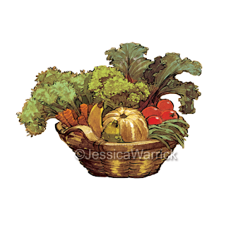 An original, watercolor and digital vegetable basket clipart illustration great for small business use and fun, personal projects.