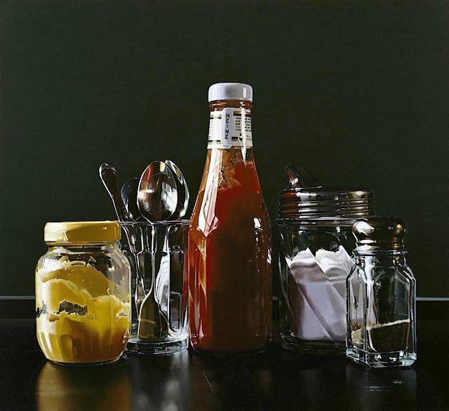 Ralph Goings art, condiments at a restaurant