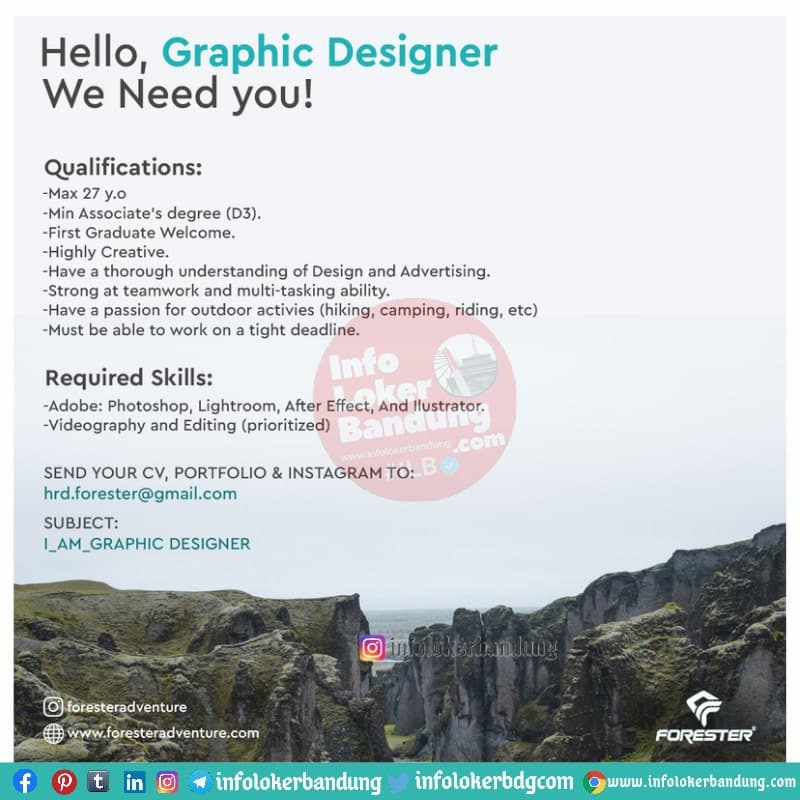 Lowongan Kerja Graphic Designer Forester Adventure Bandung Mei 2021