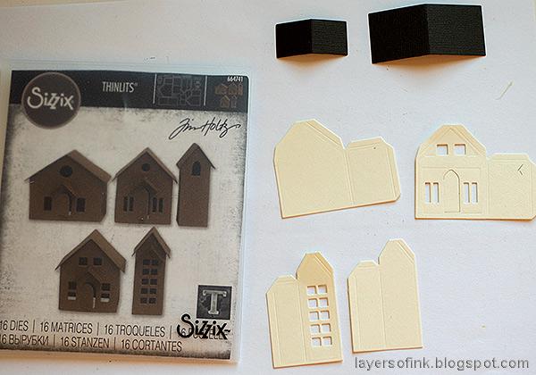 Layers of ink - Halloween Village Ornament Tutorial by Anna-Karin Evaldsson. Die cut Tim Holtz Paper Village.
