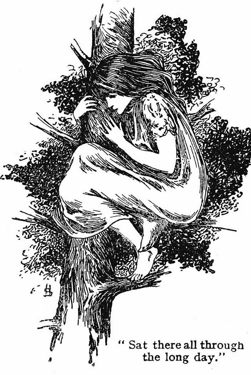 an Ellen Stratton illustration of an unhappy girl hiding in a tree