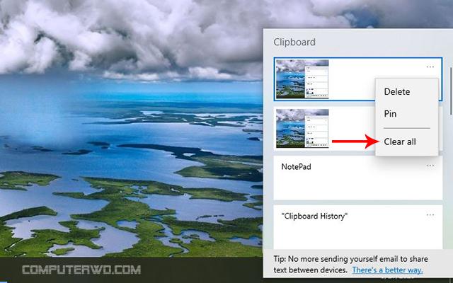 طرق التخلص من محتوي ذاكرة Clipboard بنظام ويندوز computer-wd عالم الكمبيوتر Clipboard History.psd