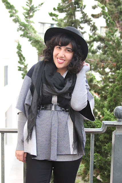 Black Wool Hat and Grey and Black Patchwork Print Poncho Winter Outfit | Will Bake for Shoes