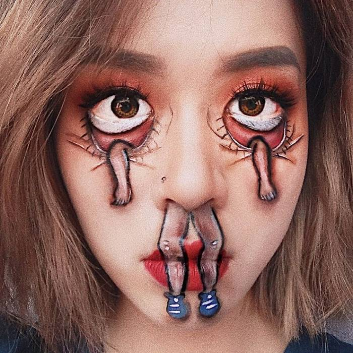 Self-Taught Makeup Artist Hoa Trang Creates Optical Illusions On Her Face