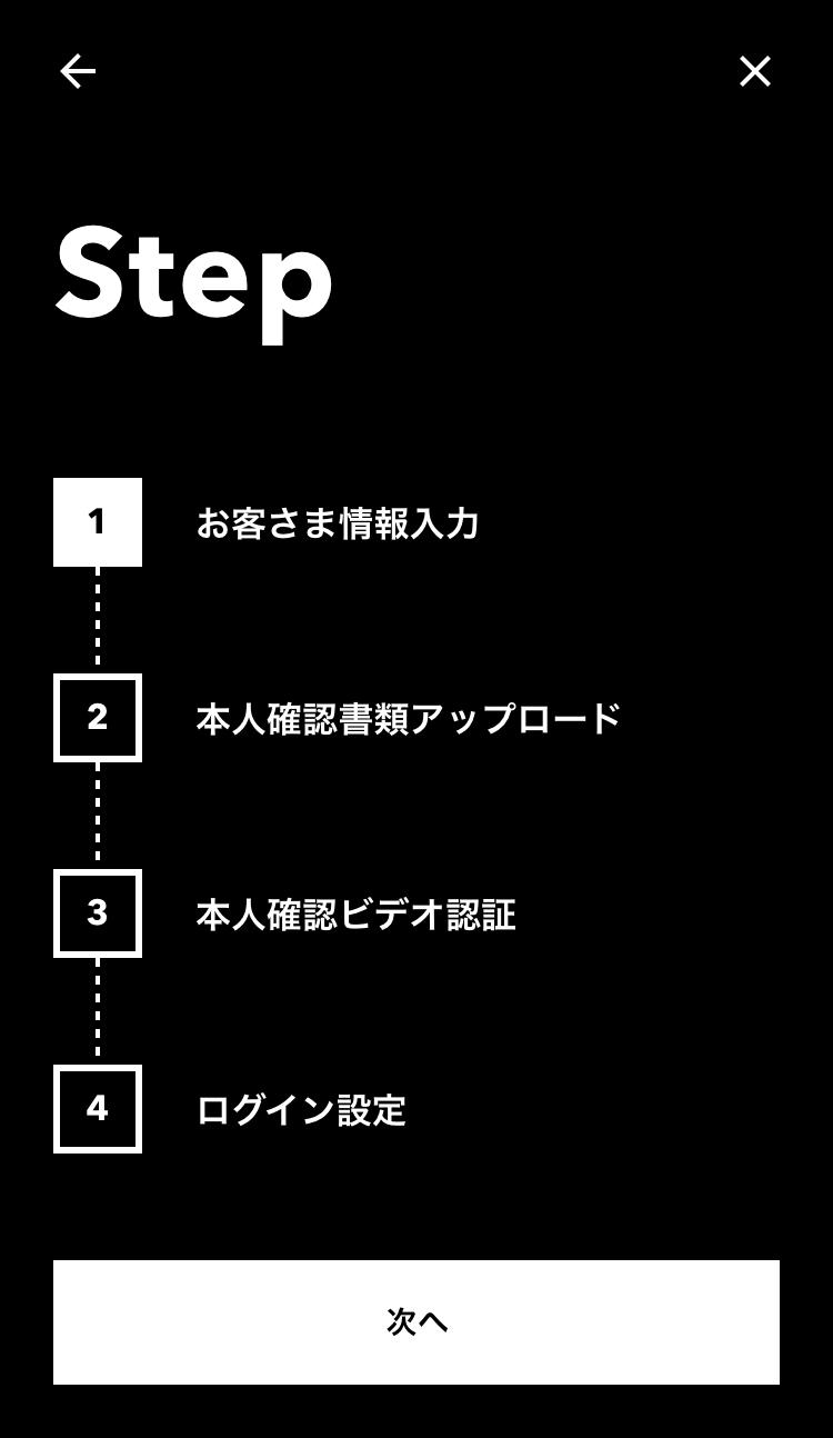 口座開設に必要なステップを表示した画面のスクリーンショット