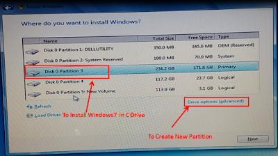 Install Windows7 in C Drive