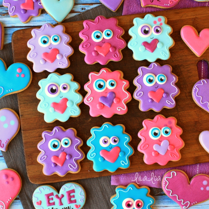 Brightly colored and cute wild monster Valentine's Day decorated sugar cookies