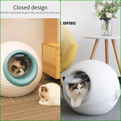 Review CURLY TAIL Cat Litter Box Totally Closed Flip Cat Toilet Deodorization Cat