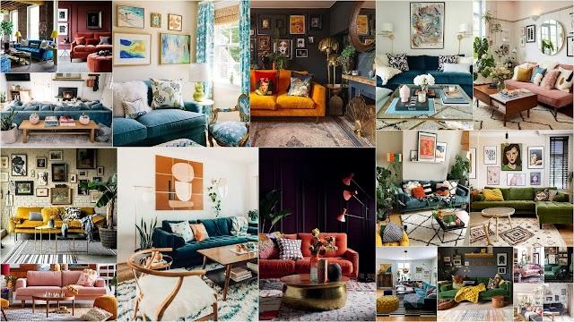 Μοντέρνα σαλόνια με βελούδινους καναπέδες