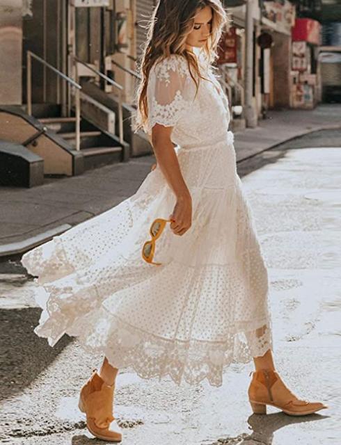 country western wedding dress lace boho