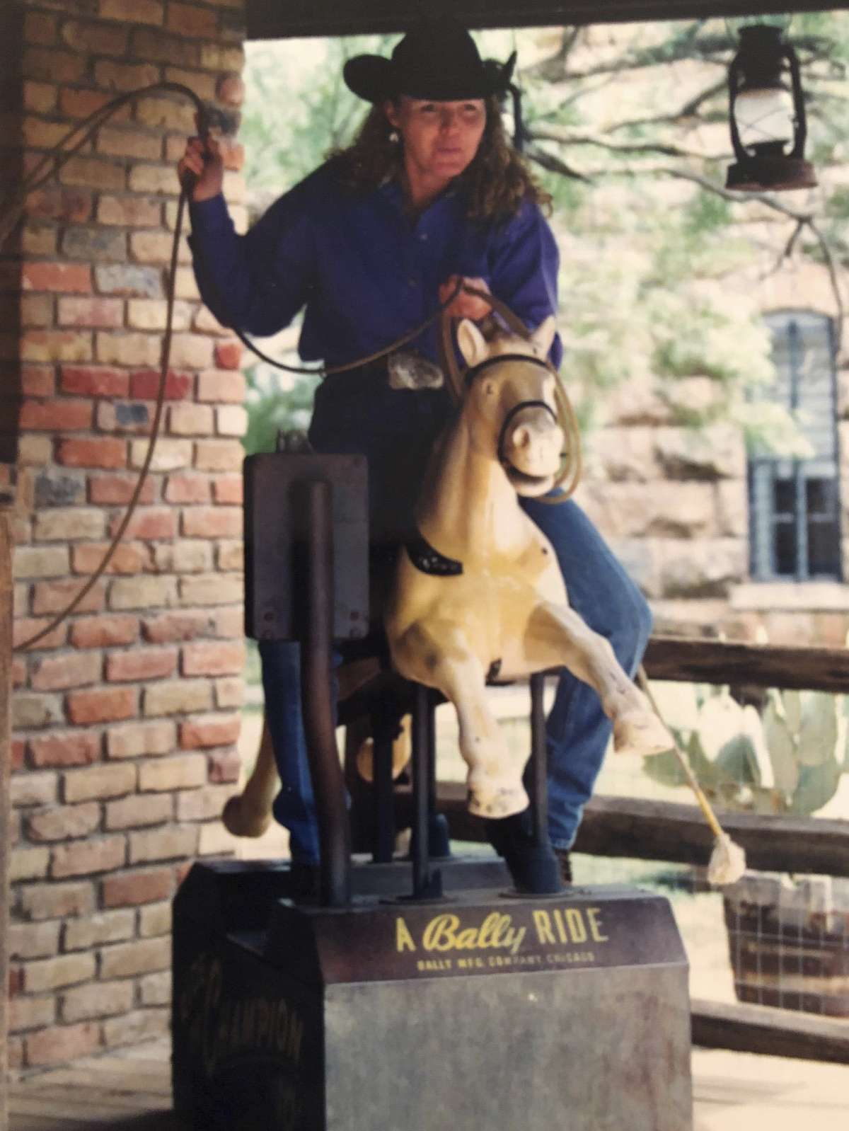 roping on coin operated horse