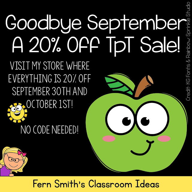 """Today is the LAST DAY of my """"Good-Bye September"""" Sale! Everything in My Store is 20% Off to Help You Plan for October!"""