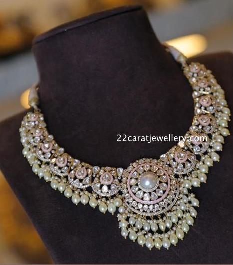 Flat Diamond Choker with Pearls