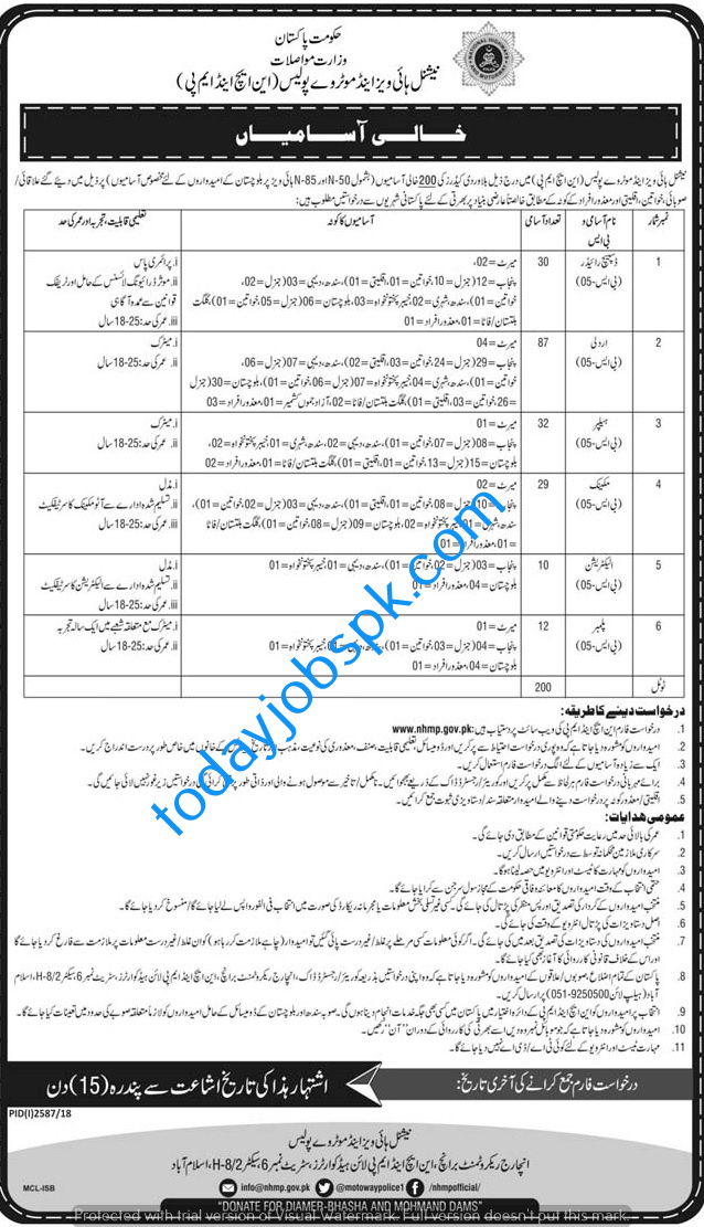 National Highway and Motorway police Jobs