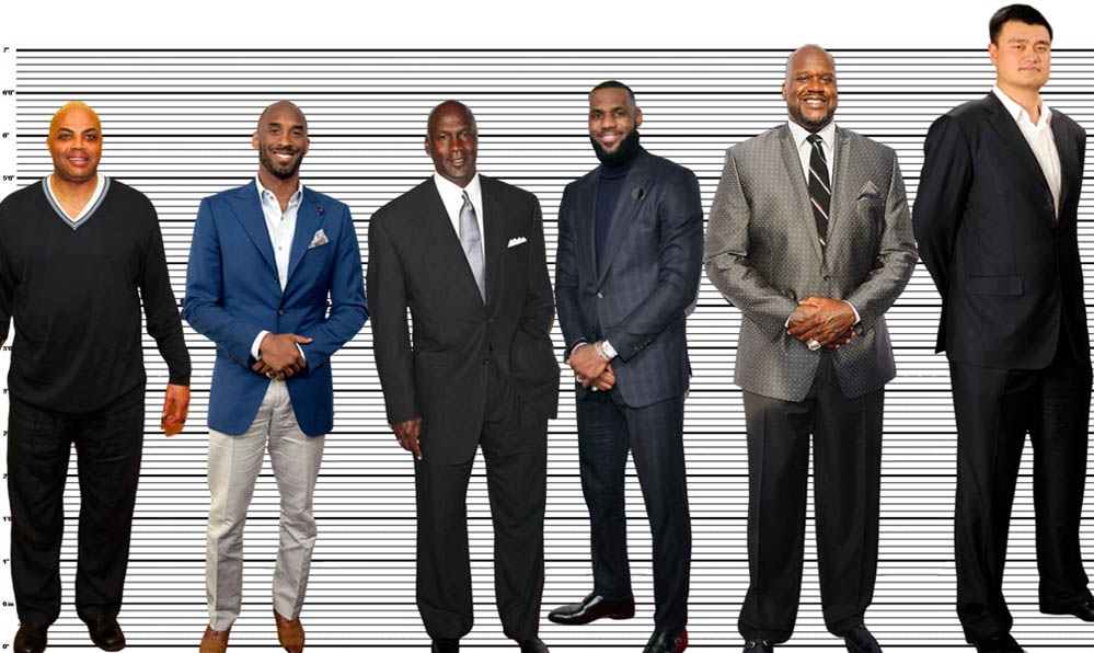 """Michael Jordan height comparison with other greats, Charles Barkley (6'5""""), Kobe Bryant (6'5""""), Lebron James (6'7.5""""), Shaquille O'Neal (7'1"""") and Yao Ming (7'5.5"""")"""