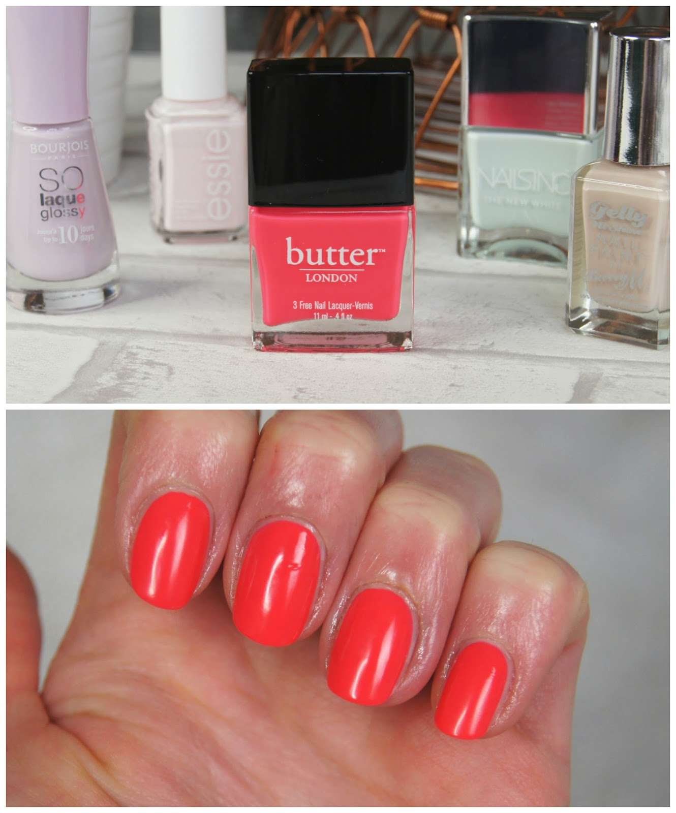 butter london cake-hole nail polish review swatch spring bright neon pink