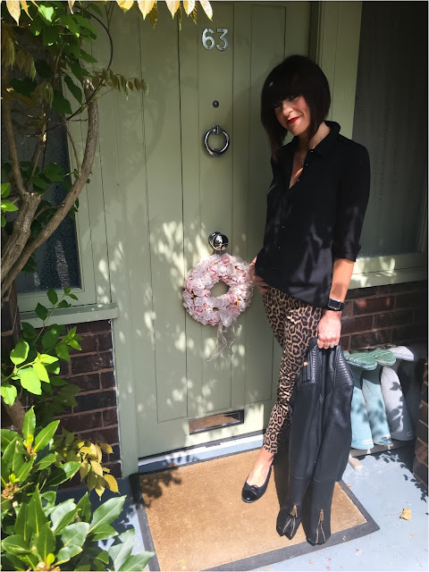 My Midlife fashion, leopard print trousers, animal print trousers, zara leather biker jacket, quilted patent toe ballet pumps, longline shirt