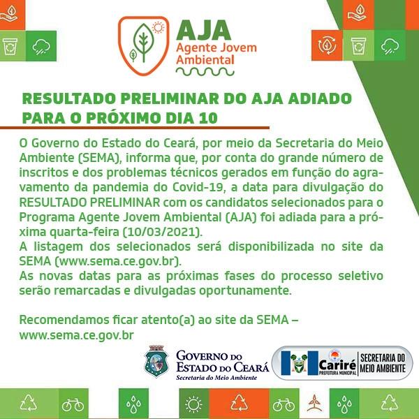 Resultado preliminar do Agente Jovem Ambiental (AJA) é adiado para dia 10 de março