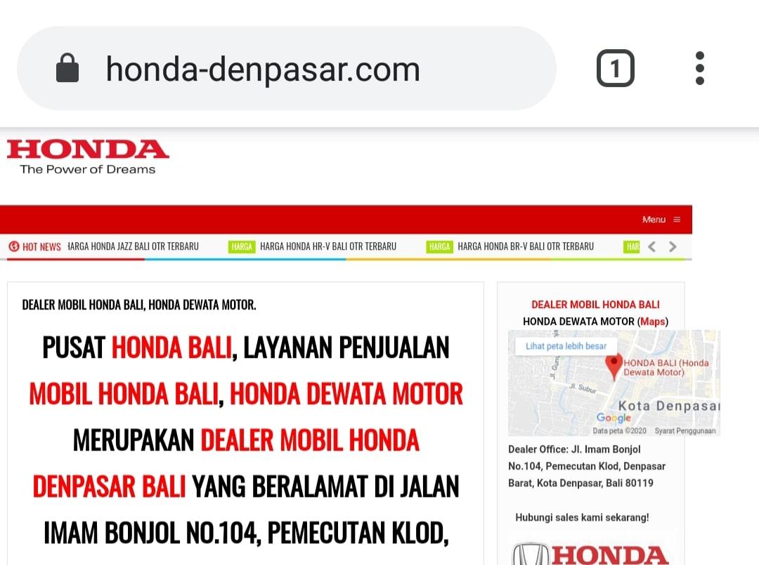 Website Honda Denpasar By Bayu-Media Web & Ads