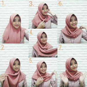 tutorial hijab segi empat simple style 1