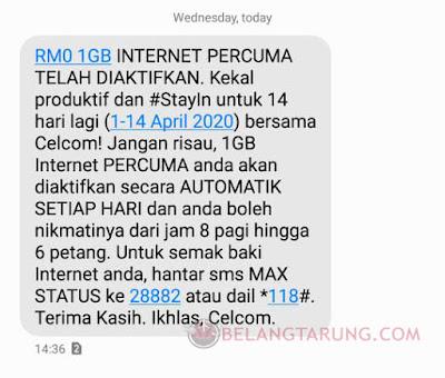 Celcom Prepaid 1GB Free Internet