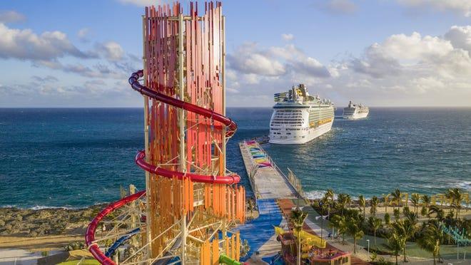 cruise ship docked in Coco Cay Bahamas