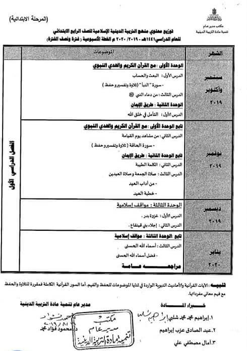 توزيع مناهج التربية الدينية الاسلامية لكل الصفوف و المراحل (ابتدائي - اعدادي - ثانوي) للعام الدراسي 2019 / 2020 5