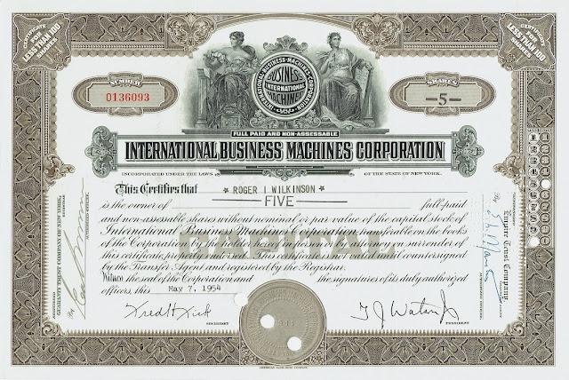 IBM stock certificate, 1940s IBM logo